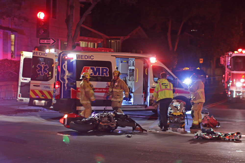 A 48-year-old motorcyclist suffered moderate injuries Saturday night in a collision with an SUV at De la Vina and West Micheltorena streets in downtown Santa Barbara.