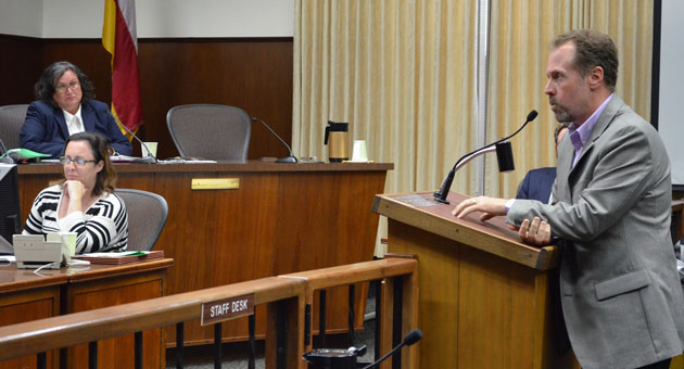 <p>Mike Foley, executive director of Casa Esperanza, seen last October addressing the Santa Barbara City Council, was laid of last week, along with Associate Executive Director Imelda Loza.</p>