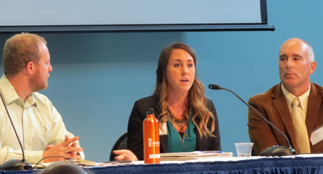<p>Local and out-of-area panelists joined in a sustainability Wednesday at UCSB. They included, from left, Eric Veium of San Luis Obispo County, Jamie Tuckey of Marin County and Jim Dewey, facilities and energy manager with the City of Santa Barbara.</p>