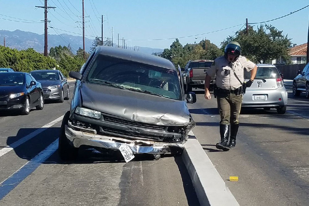 The driver of this pickup truck was taken into custody on felony DUI and hit-and-run charges Monday afternoon following a series of collisions on Hollister Avenue in Goleta.