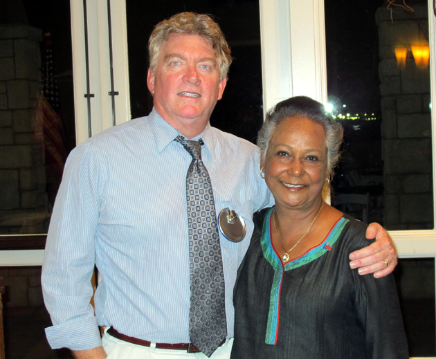 <p>Rotary Club of Goleta President Mike Pitts greets 5240 Past District Governor Deepa Willingham.</p>