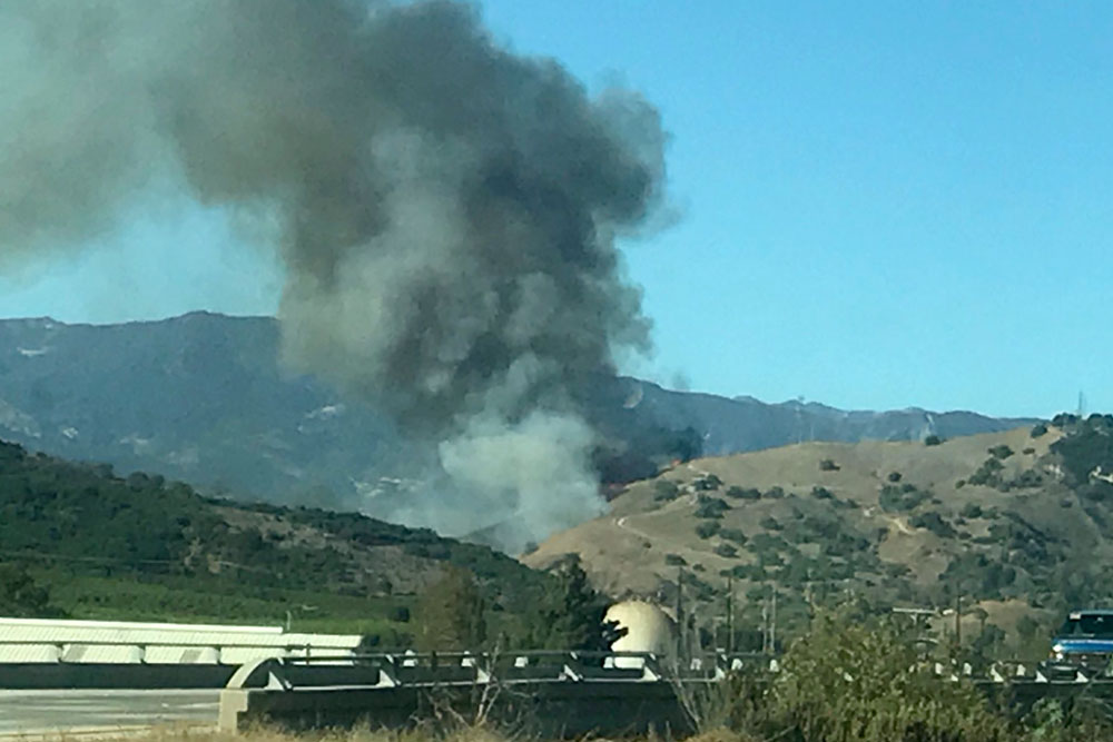 A vegetation fire broke out Tuesday afternoon along Highway 33 near Lake Casitas in Ventura County. Smoke from the blaze was visible in the Santa Barbara area.