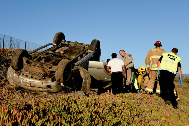 A female passenger was injured Sunday afternoon in a rollover wreck on northbound Highway 101 in Goleta.