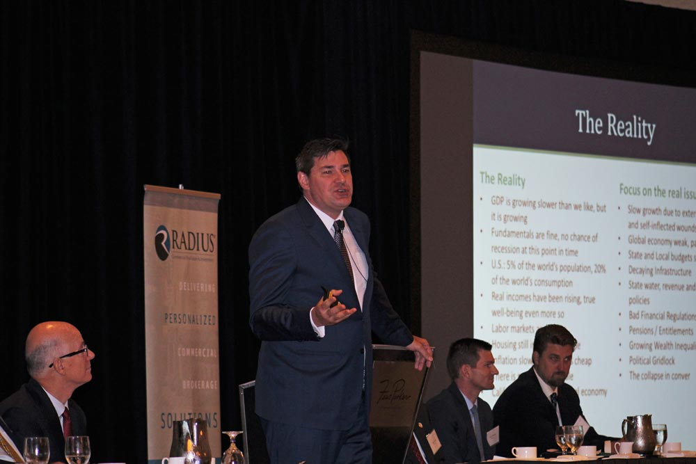 Christopher Thornberg speaks during Tuesday's Radius Real Estate and Economic Forecast in Santa Barbara.