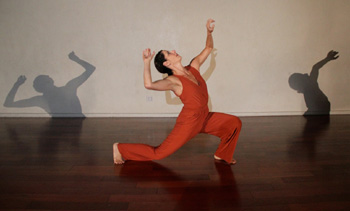 Melissa Lynn Block dances her power/less, a solo to a music mix by Misa Kelly using sounds gleaned from rehearsal sessions. (Kathee Miller photo)