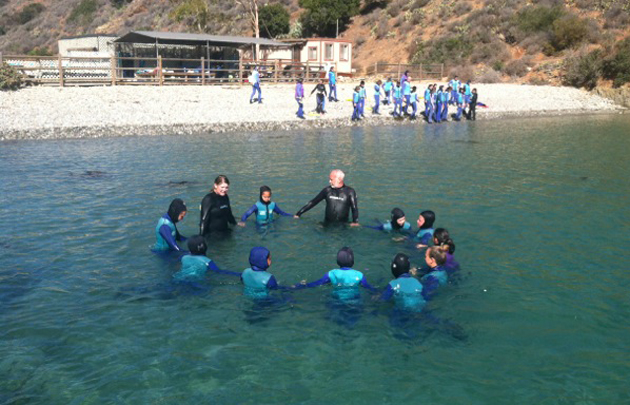 <p>Marymount sixth-graders take to the water during a trip to the Catalina Island Marine Institute.</p>