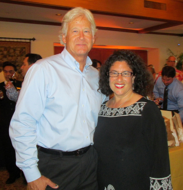 Pathpoint board chairman Randy Weiss of Union Bank with one of Saturday's honorees, Santa Barbara Mayor Helene Schneider.