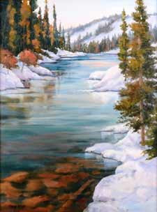 Joy of Winter by Sheryl Knight is painted with oil on linen.
