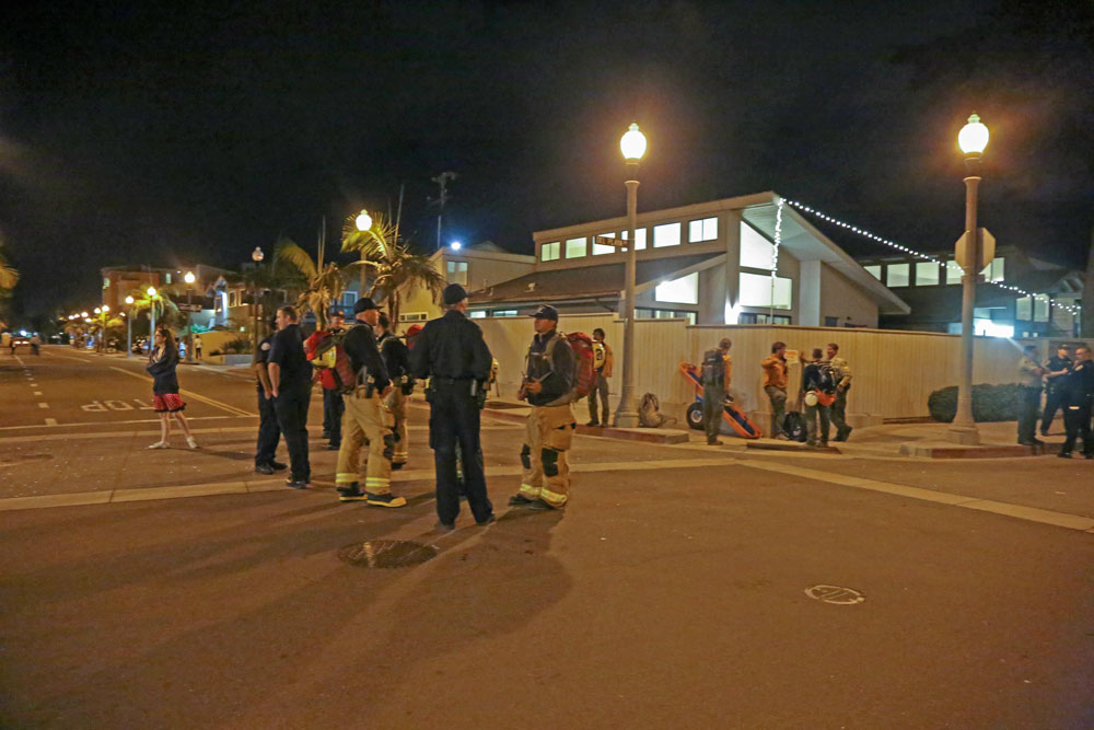 The streets of Isla Vista seemed to have more public safety personnel than Halloween revelers over this year's four-day weekend. (Zack Warburg / Noozhawk photo)