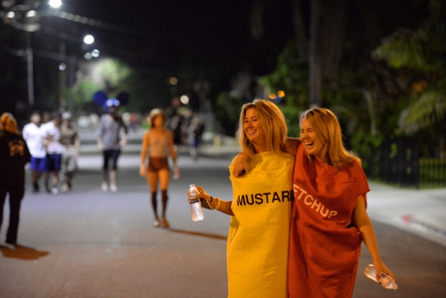 On Halloween Eve in Isla Vista, authorities relished the fact that water bottle-toting condiments were about as wild and crazy as things got.  (Mike Eliason photo / Santa Barbara County Fire Department)