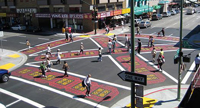Scramble intersections are used all over the world, as well as cities closer to home, such as this one in Oakland.