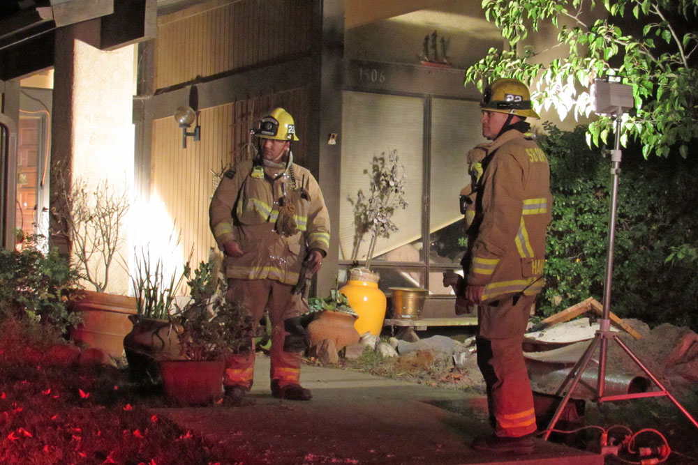 Firefighters responded to a home on Onyx Court in Orcutt Monday night for a residential structure fire that displaced two residents.