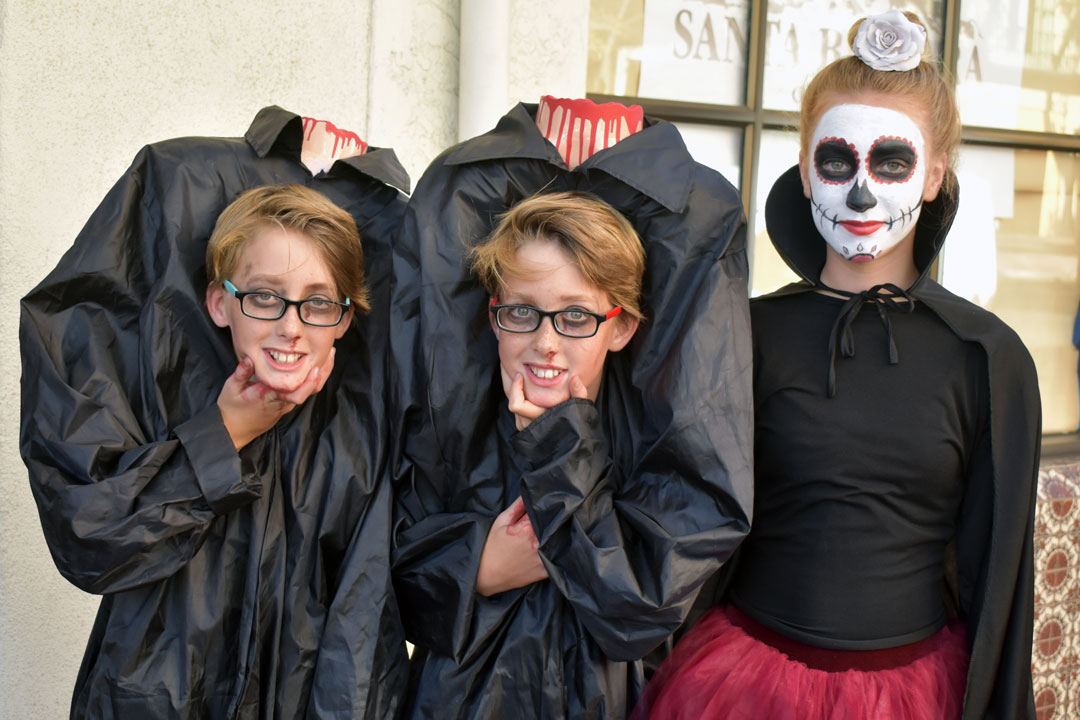 Halloween trick-or-treaters on State Street in downtown Santa Barbara.