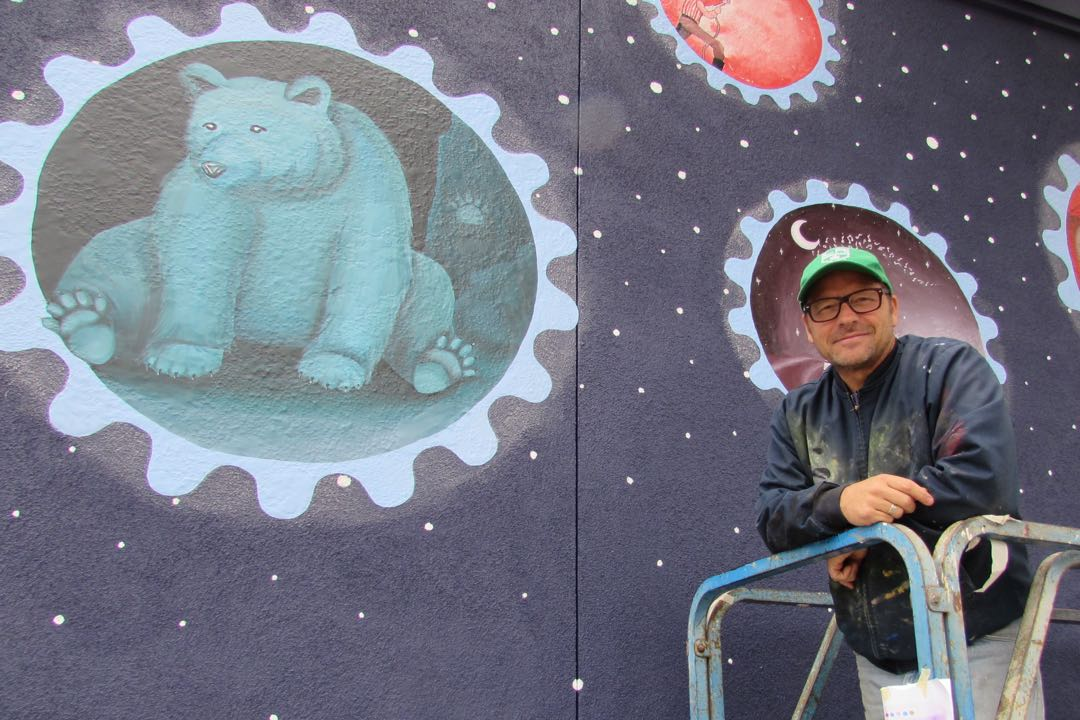"Allan Hancock College art instructor John Hood helped coordinate a student-designed mural now adorning a wall of the Santa Maria Valley Discovery Museum. ""All of this was their design,"" he says of the nearly two dozen teenagers. ""It was a great collaboration."""