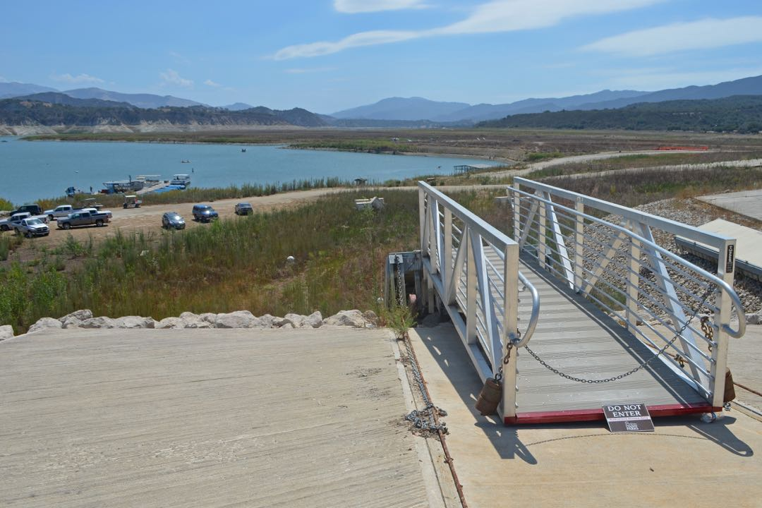 The main boat ramp at the Lake Cachuma Marina no longer reaches the water but kayaks and other boats can still be launched from the lower area.