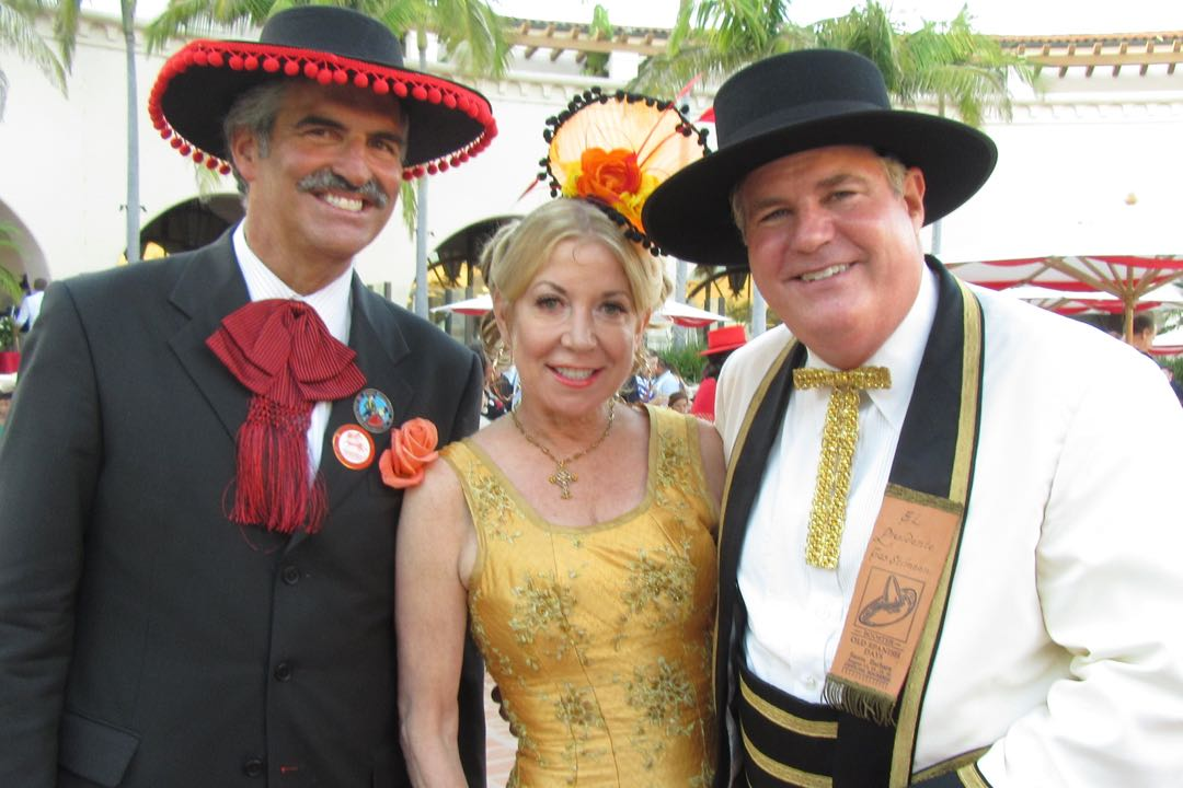 From right, 2015 Old Spanish Days El Presidente Cas Stimson and his wife, Kathleen McClintock, with KEYT News senior reporter John Palminteri.