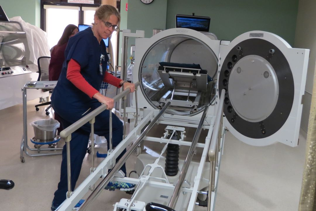 Goleta Valley Cottage Hospital's Ridley-Tree Center for Wound Management has seen an increase in patients since opening its new hospital over the summer. Patients with wounds and other ailments are placed in one of four hyperberic chambers to get more oxygen into their bodies to accelerate the healing process.