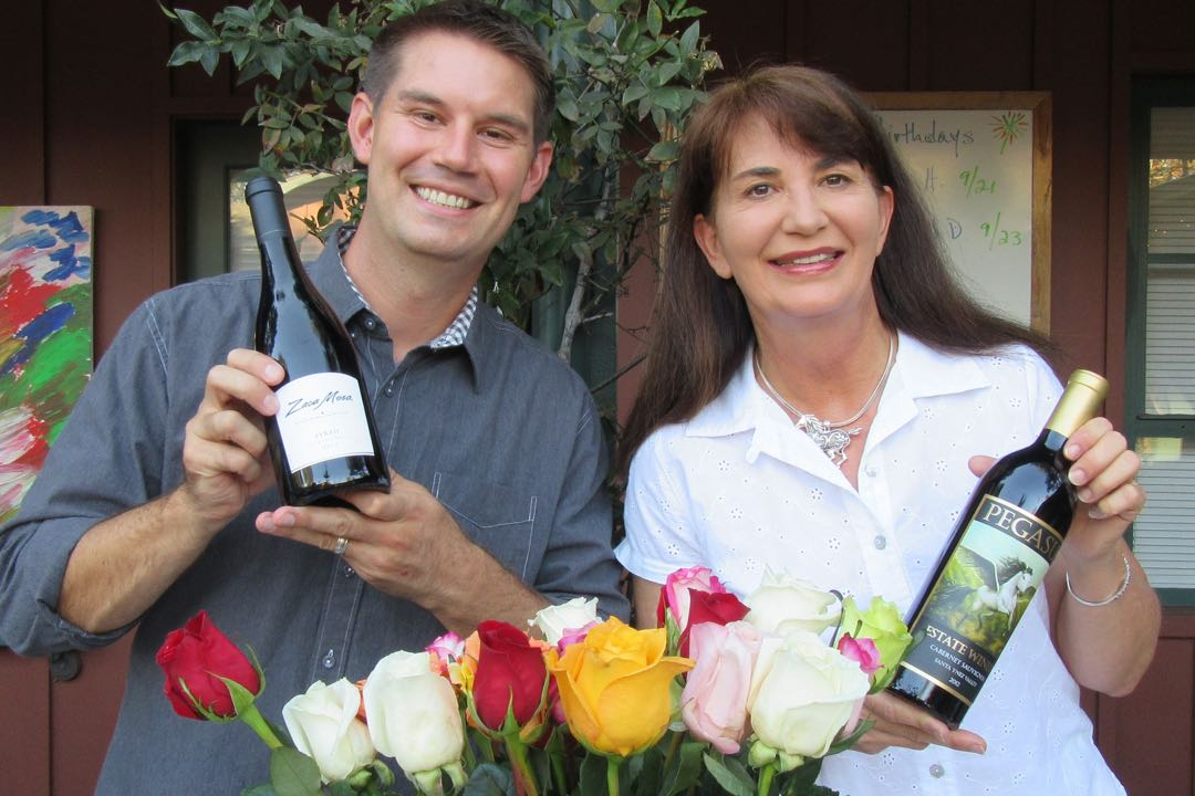 Happy vintner purveyors Peg Crowlly from Pegasus Estate Winery and Dane Campbell from Zaca Mesa.