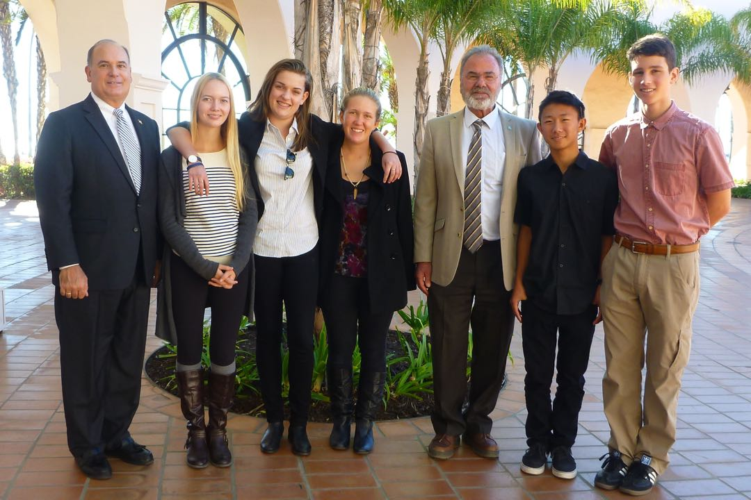 Students from Anacapa School, along with Headmaster Gordon Sichi, third from right, attended a recent Channel City Club talk by national security expert Steve Bucci, at left.