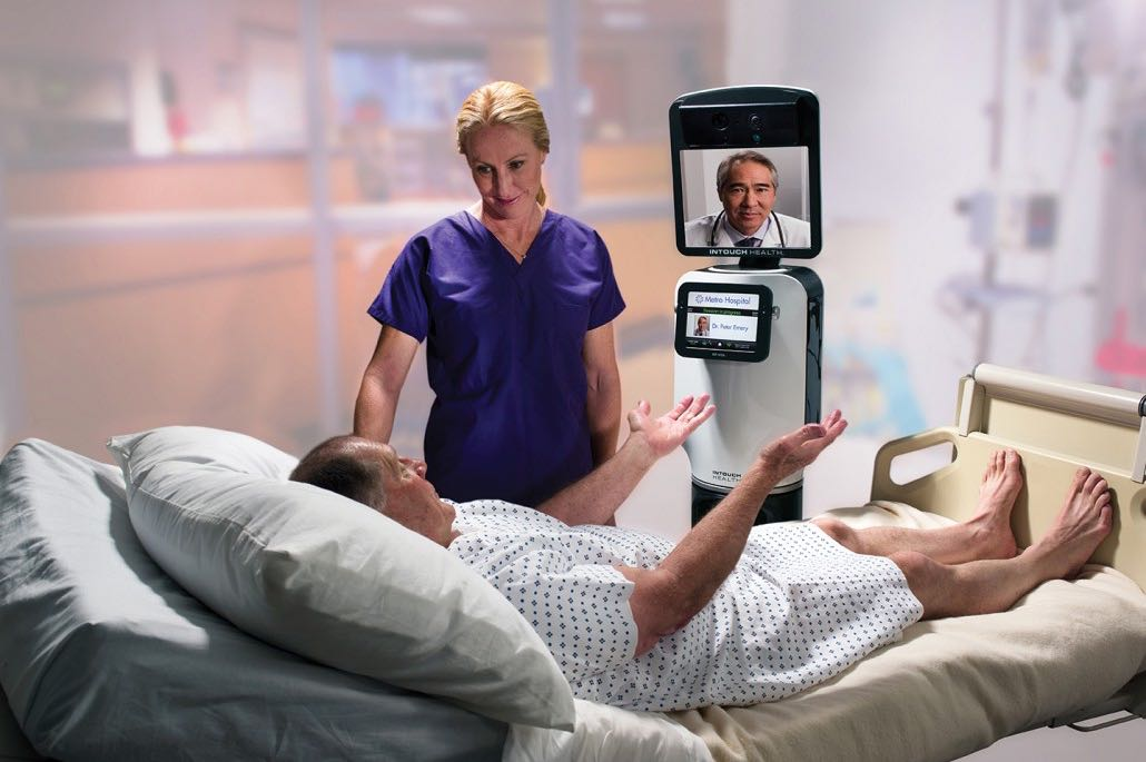 The far-reaching telehealth network developed by InTouch Health facilitates more than 12,000 consults a month, working with more than 1,300 hospitals and adding more than one site every day.