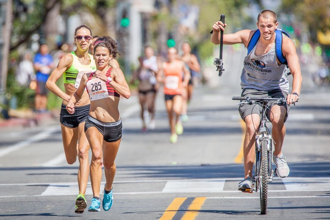 Tracee Van Der Wyk won first place among Elite Women in Sunday's State Street Mile in downtown Santa Barbara.
