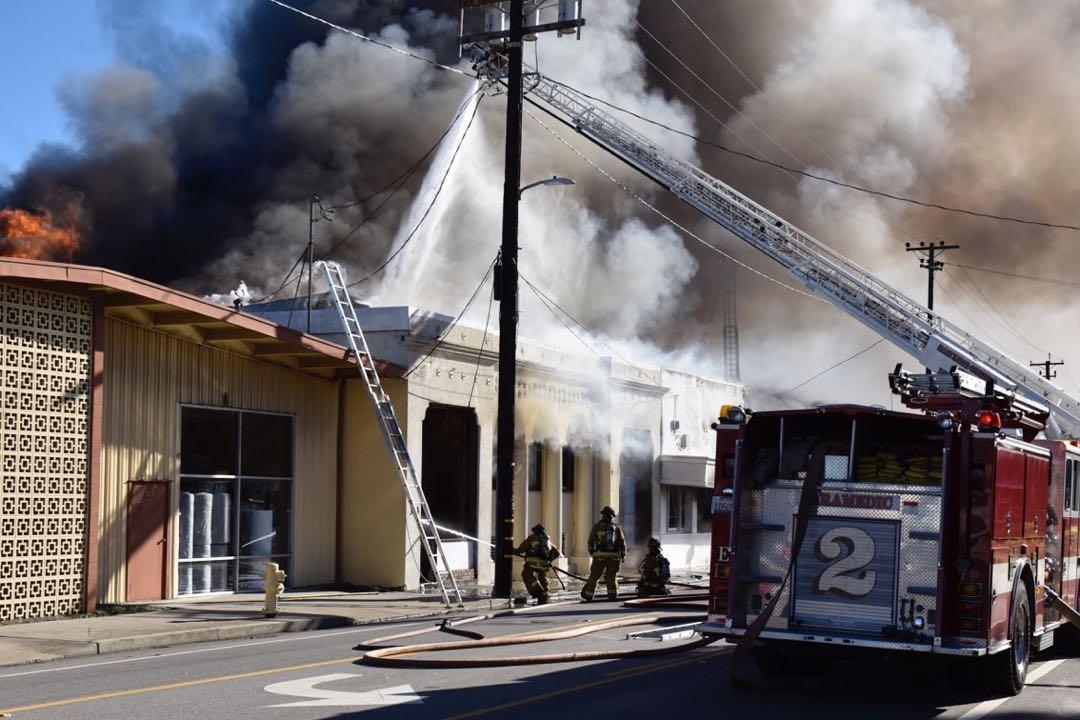 Firefighters battle an hours-long blaze raging inside The Sub and adjoining businesses on Higuera Street in downtown San Luis Obispo.