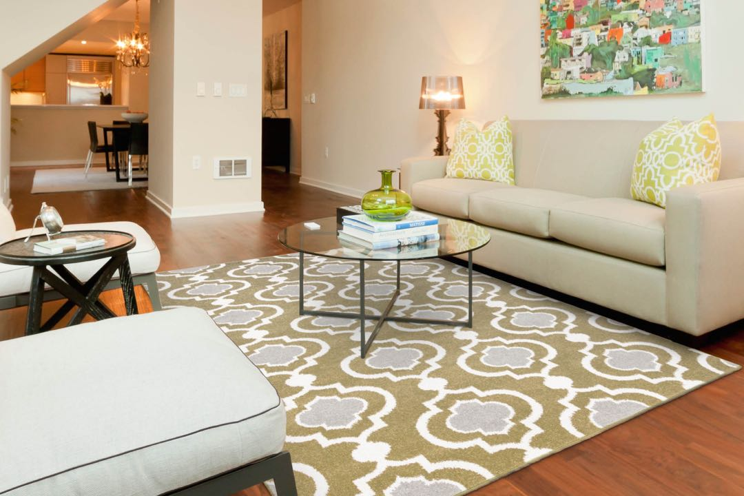 A 3 by 5-foot geometric area rug boldly ties together a living room.