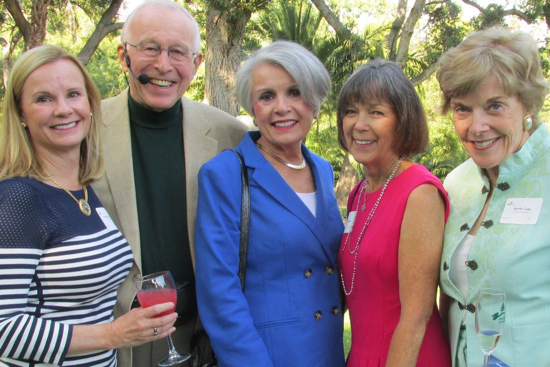 From left, Wendy Hunter, Ray and Mary Freeman, Marcia Wolfe and event chairwoman Norris Goss enjoy the El Mirador Gardens before the June 6 Hillside House Soirée.