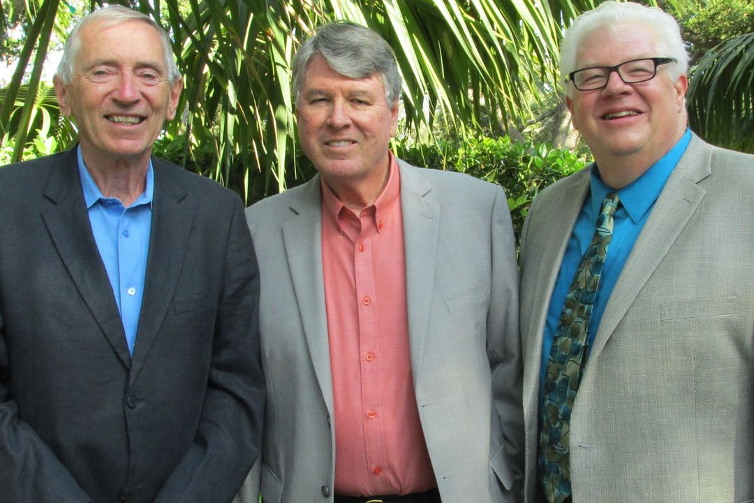 From left, Hillside House board president Jim Wolfe, speaker and wine expert John Tilson and executive director Craig Olson.