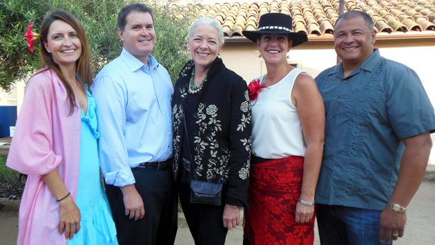 From let, Maria and John Longbrake, Janet Garufis from sponsor Montecito Bank & Trust, and Lisa and Noel Rivas.