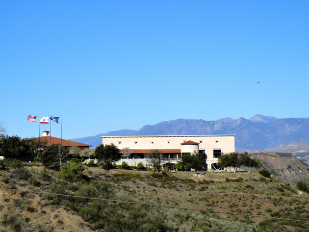 The Ronald Reagan Presidential Library and Museum, seen from a distance, sits on a 100-acre mountaintop site halfway between Los Angeles and Santa Barbara and offers 360-degree sweeping views.