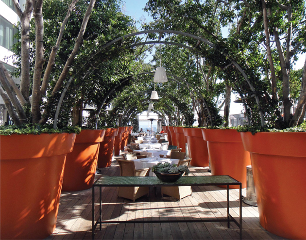 The terrace at the Mondrian Hotel.