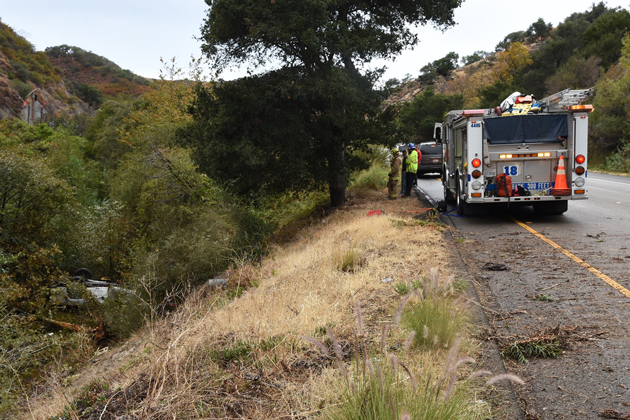 A vehicle crashed off the roadway into a creekbed Monday afternoon and the driver was pronounced dead at the scene.