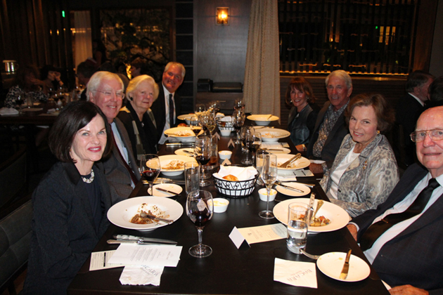 Opera Santa Barbara general director Steven Sharpe dines with friends at the Napa Meets Verona private reception.
