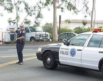 Santa Barbara police sealed off nearby streets, further snarling morning commuter traffic rerouted from Highway 101 below the La Cumbre Road overpass.