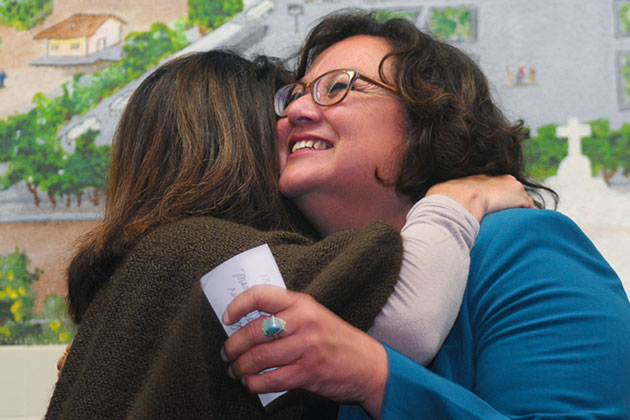 Incumbent Cathy Murillo gets a hug from a supporter Tuesday night as she was cruising to re-election in the District 3 race for Santa Barbara City Council.