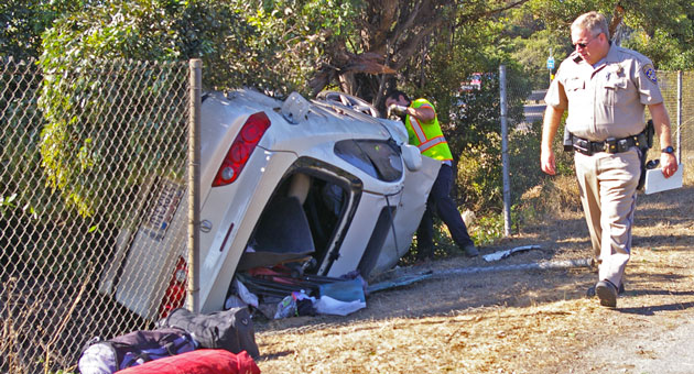 <p>Two people suffered minor injuries Monday when their car drifted off northbound Highway 101 in Goleta and overturned.</p>