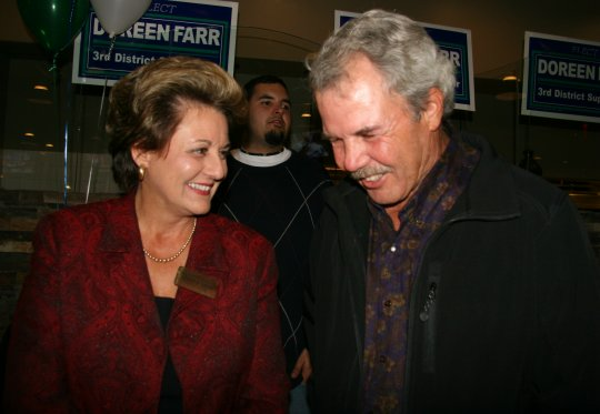 Doreen Farr, with supporter John Olson at her victory party Tuesday night, says her job as a county supervisor will be