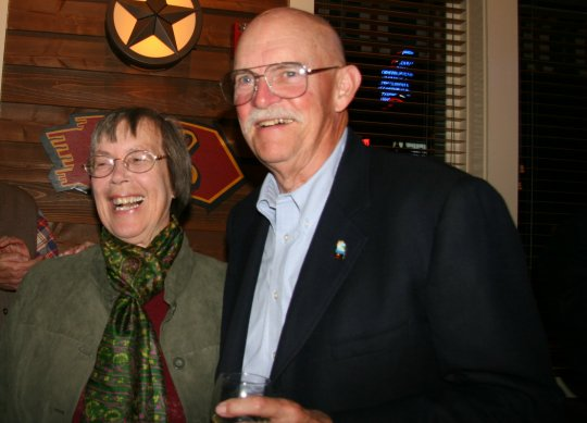 Victorious Goleta City Council candidates Margaret Connell and Ed Easton celebrate with supporters Tuesday night.
