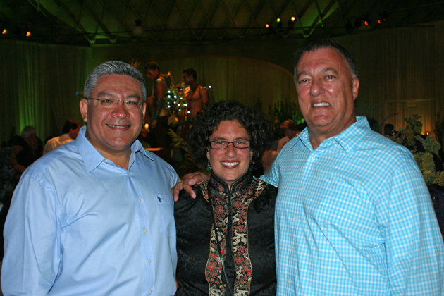 <p>Santa Barbara County First District Supervisor Salud Carbajal, left, Santa Barbara Mayor Helene Schneider and former mayor and CEC founding member Hal Conklin celebrate the Community Environmental Council&#8217;s Green Gala fundraiser at the Santa Barbara Armory. <a href=