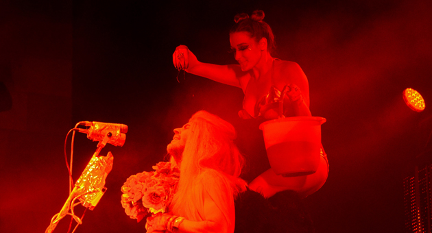 <p>Flaming Lips lead singer Wayne Coyne gets doused with a bucket of fake blood, in homage to the famous prom scene from the movie &#8220;Carrie,&#8221; during Friday night&#8217;s concert at the Santa Barbara Bowl.</p>