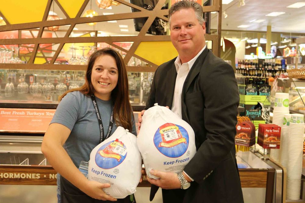 Danielle Iversen, a Whole Foods Market team leader, and Scott Hansen, regional director of wealth management of Wells Fargo, helped kick off the Foodbank of Santa Barbara County's holiday season. Whole Foods delivered 100 frozen turkeys to the nonprofit organization, while Wells Fargo has made a $15,000 matching grant.