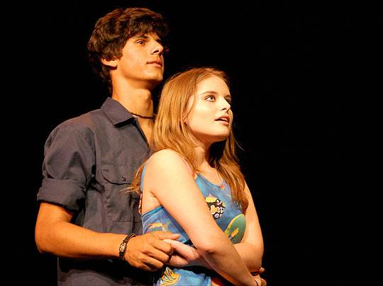 Skyler Bible, as Anton Schill, and Quinn Sosna-Spear, as Claire Zachanniasssian, star in Dos Pueblos High's production of <i>The Visit</i>&#8221; width=&#8220;540&#8221; height=&#8220;404&#8221; /><div class=