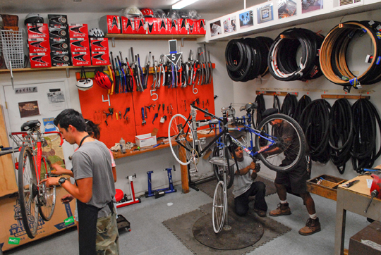 The Bici Centro workshop on East Montecito Street is filled with tools and stations where people needing bicycle repairs can learn alongside a volunteer.