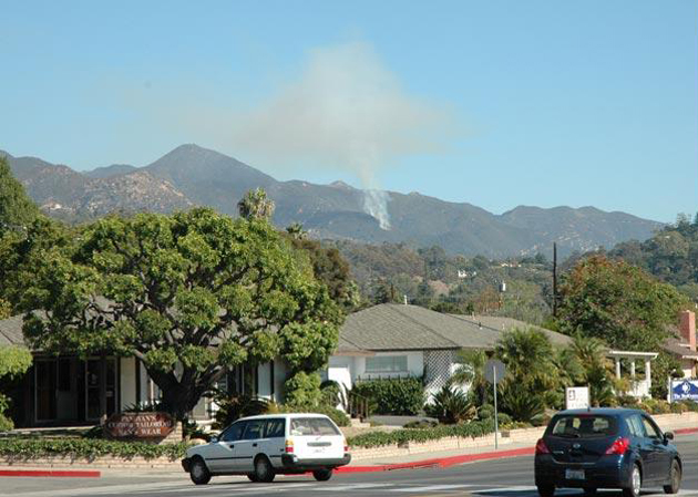 Smoke from the Cold Springs Canyon fire was clearly visible from Santa Barbara's San Roque neighborhood.