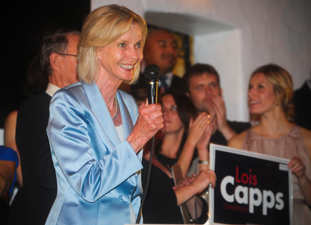 Rep. Lois Capps, D-Santa Barbara, celebrates her re-election to Congress on Tuesday night with supporters gathered at El Paseo Mexican Restaurant. (Lara Cooper / Noozhawk photo)