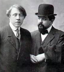 André Caplet, left, and his friend, Claude Debussy.