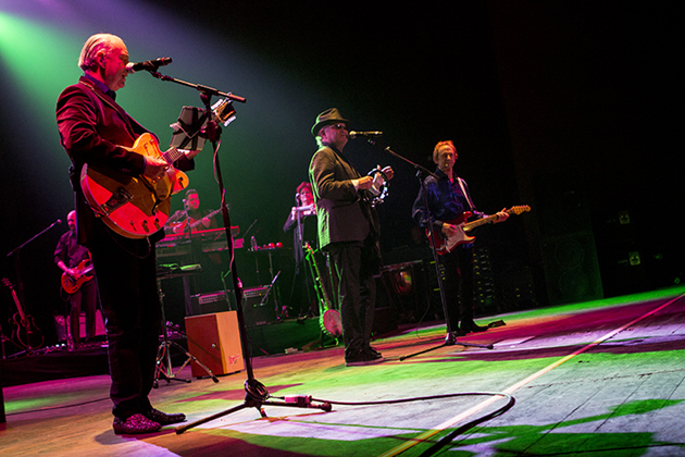 The Monkees — Michael Nesmith, from left, Micky Dolenz and Peter Tork — perform Friday night at the Arlington Theatre. Their 12-date November tour of the United States marks their first concerts together since 1997. (Garrett Geyer / Noozhawk photo)