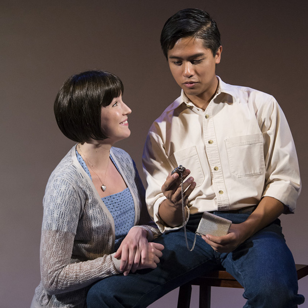 Madelyn Robinson, left, plays Catherine Wolfe Donahue and Julian Remulla is Tom Donohue in UCSB's These Shining Lives. (David Bazemore photo)