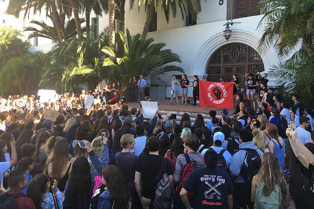 Santa Barbara High School students march to the County Courthouse Nov. 9 to protest the election victory of President-elect Donald Trump. Students also held walkouts at Dos Pueblos and San Marcos high schools.
